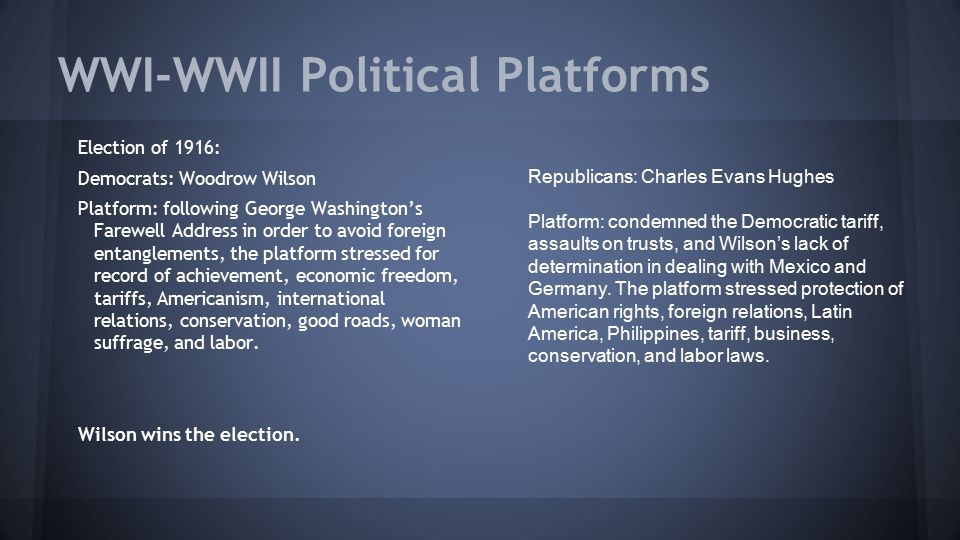WWI-WWII Political Platforms