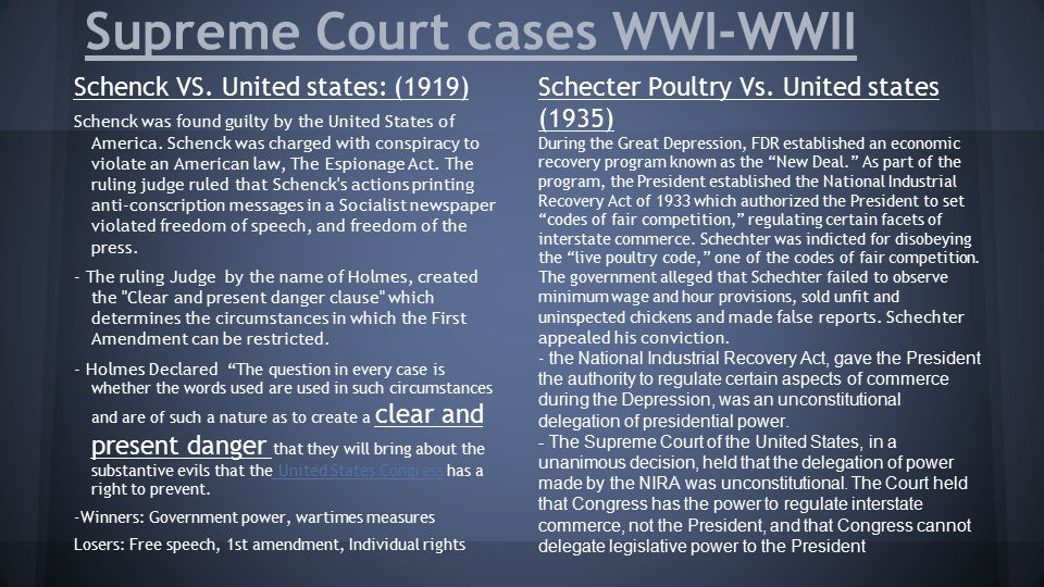 Supreme Court cases WWI-WWII