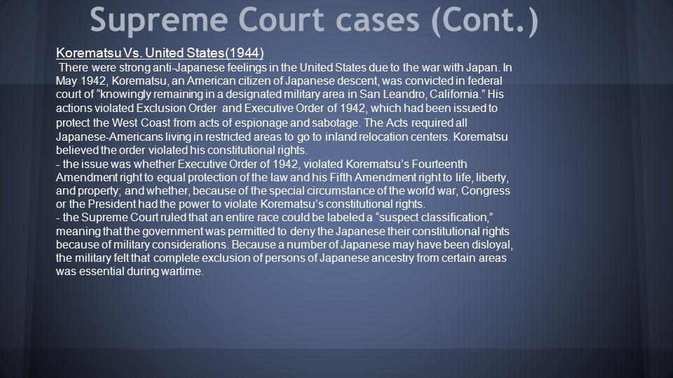 Supreme Court cases (Cont.)
