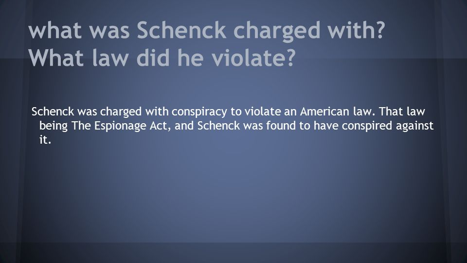 what was Schenck charged with What law did he violate