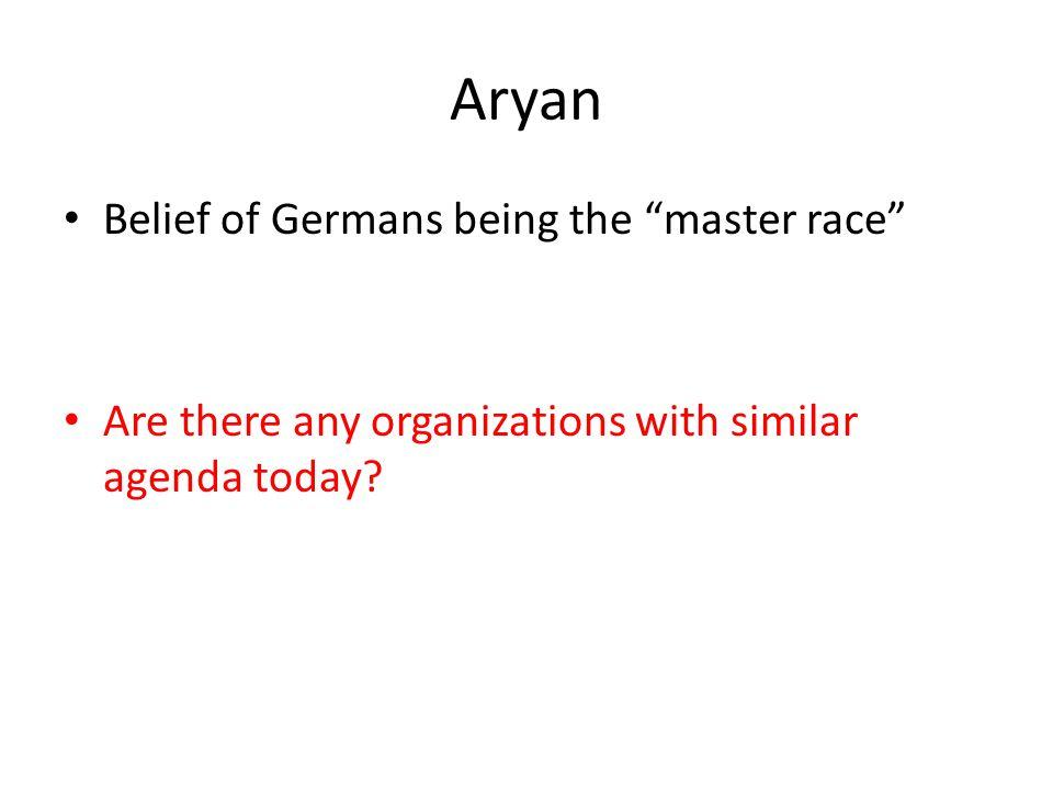Aryan Belief of Germans being the master race