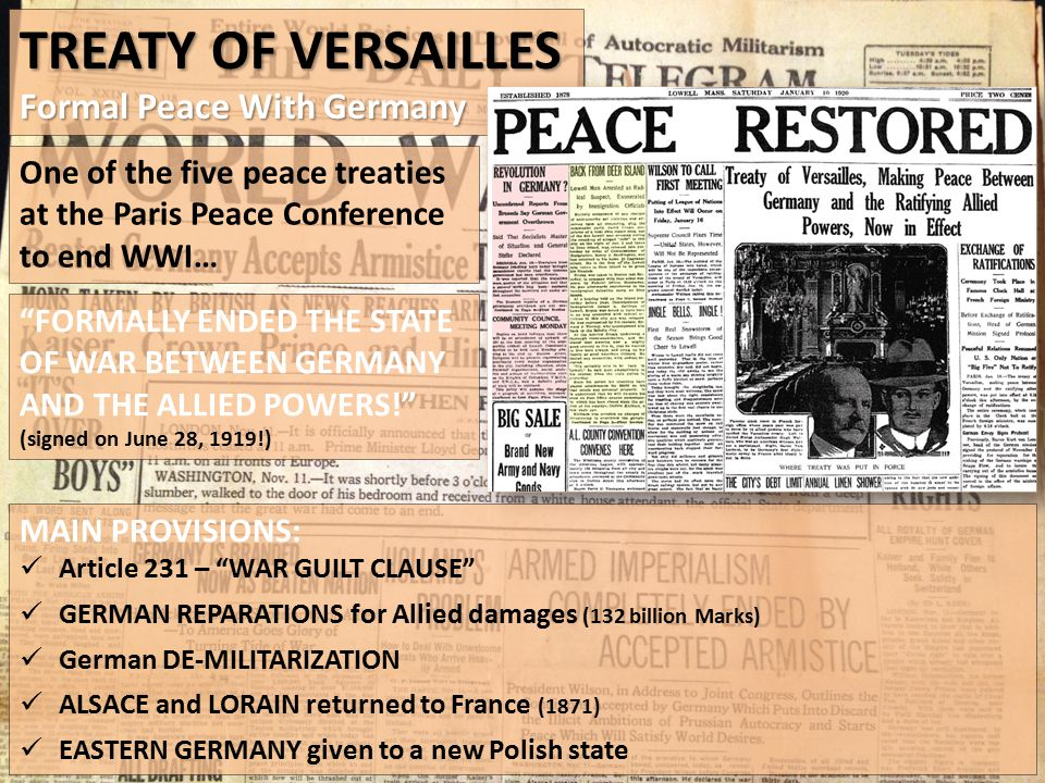 Treaty of Versailles Formal Peace With Germany