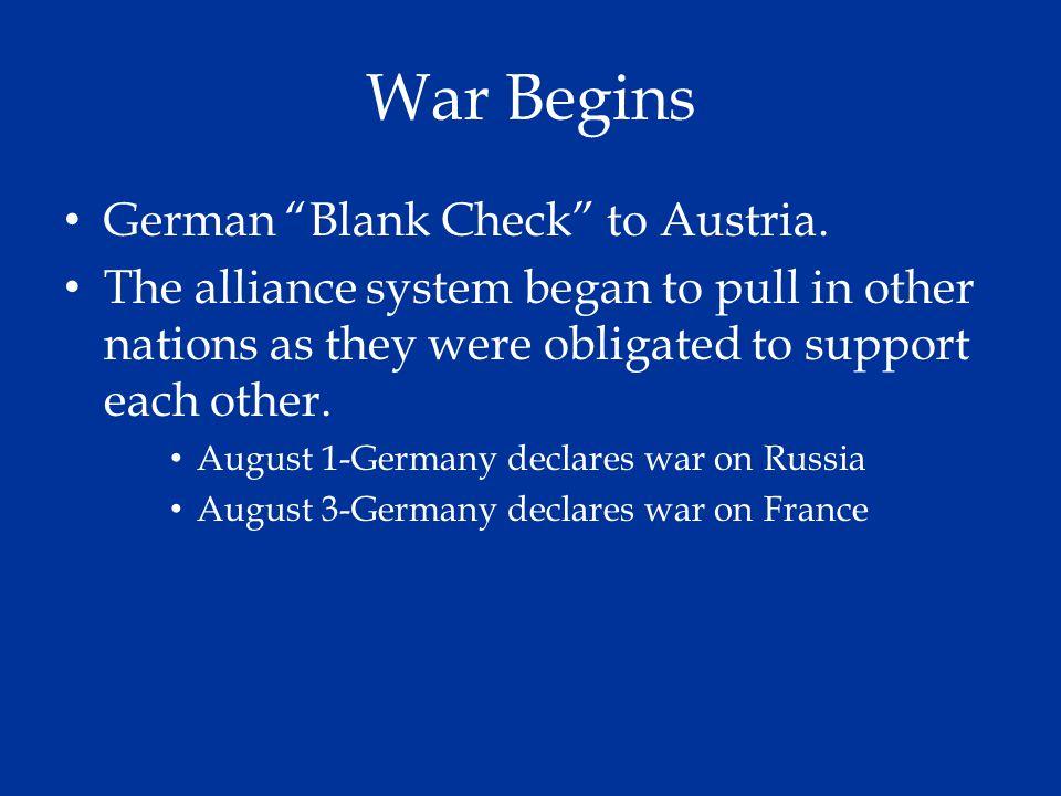 War Begins German Blank Check to Austria.