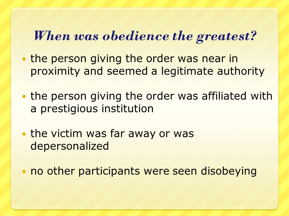 When was obedience the greatest
