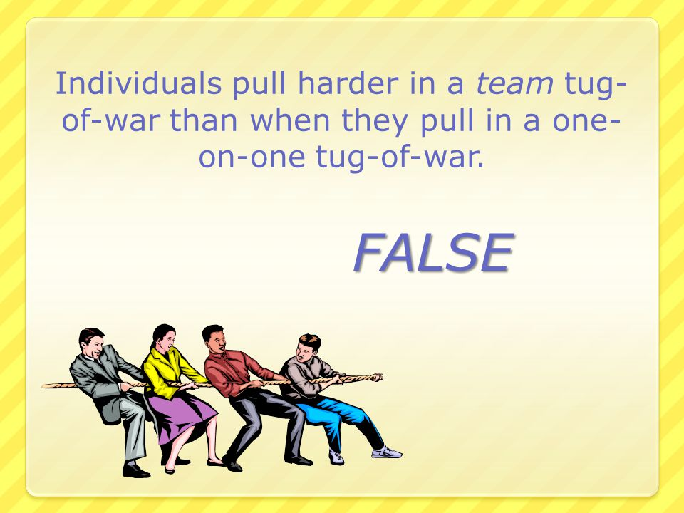 Individuals pull harder in a team tug-of-war than when they pull in a one-on-one tug-of-war.
