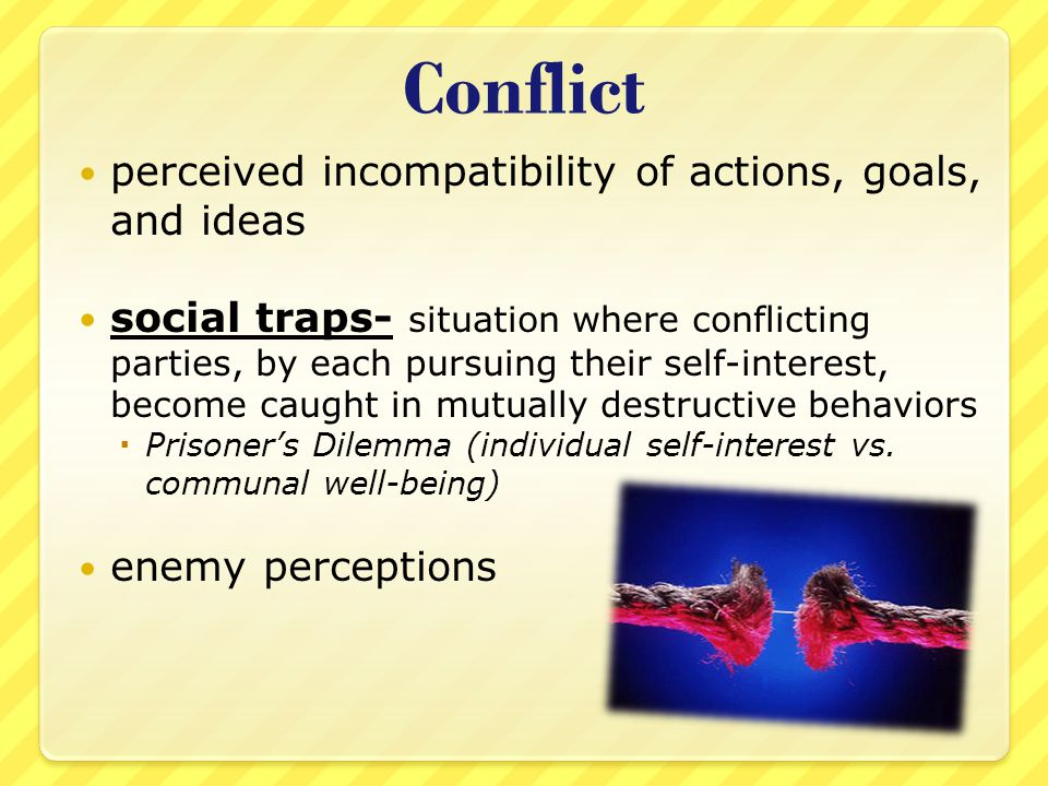 Conflict perceived incompatibility of actions, goals, and ideas
