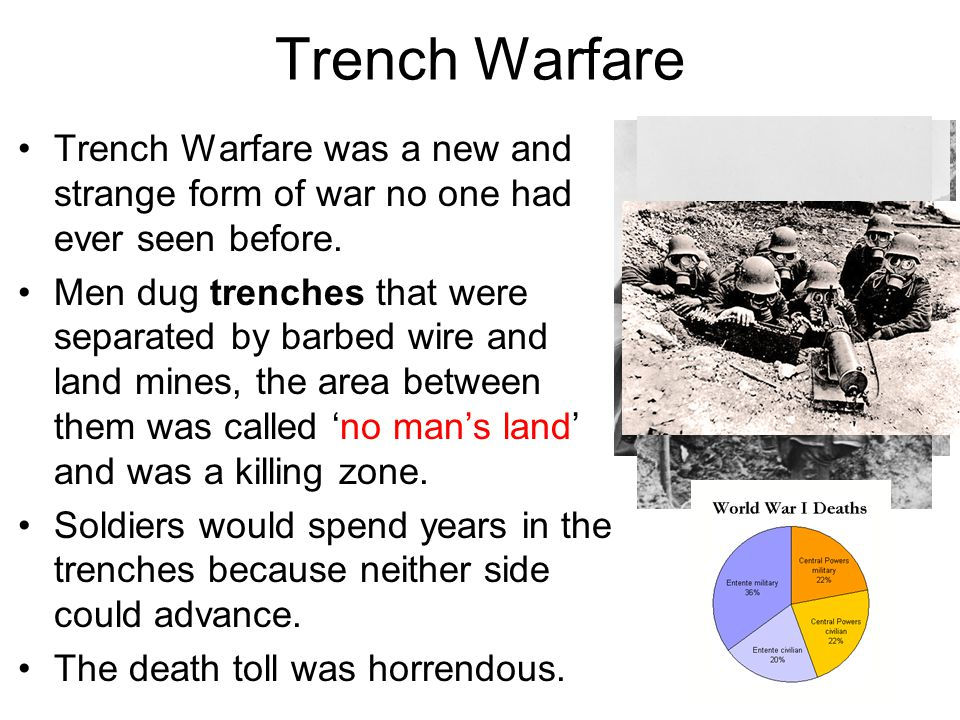 Trench Warfare Trench Warfare was a new and strange form of war no one had ever seen before.