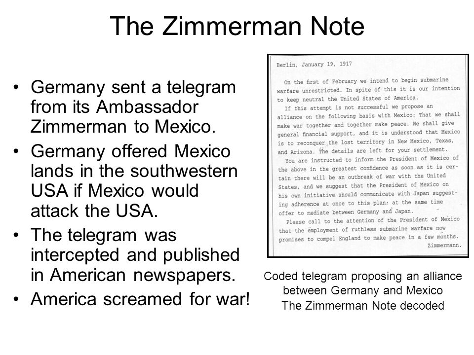 Coded telegram proposing an alliance between Germany and Mexico