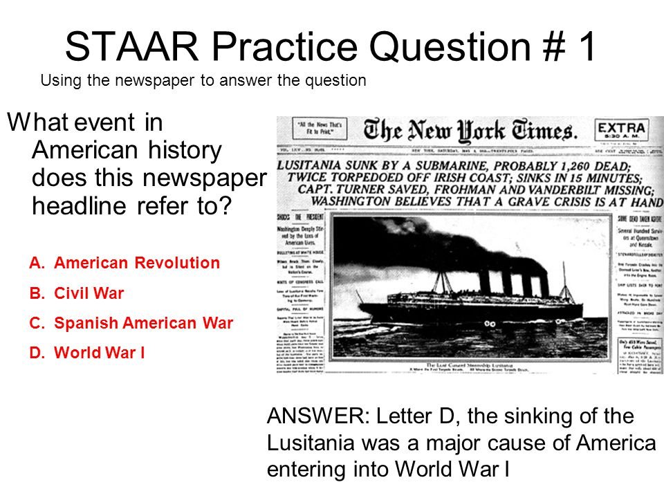 STAAR Practice Question # 1
