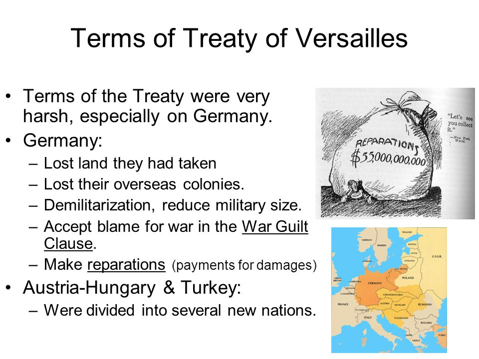 Terms of Treaty of Versailles