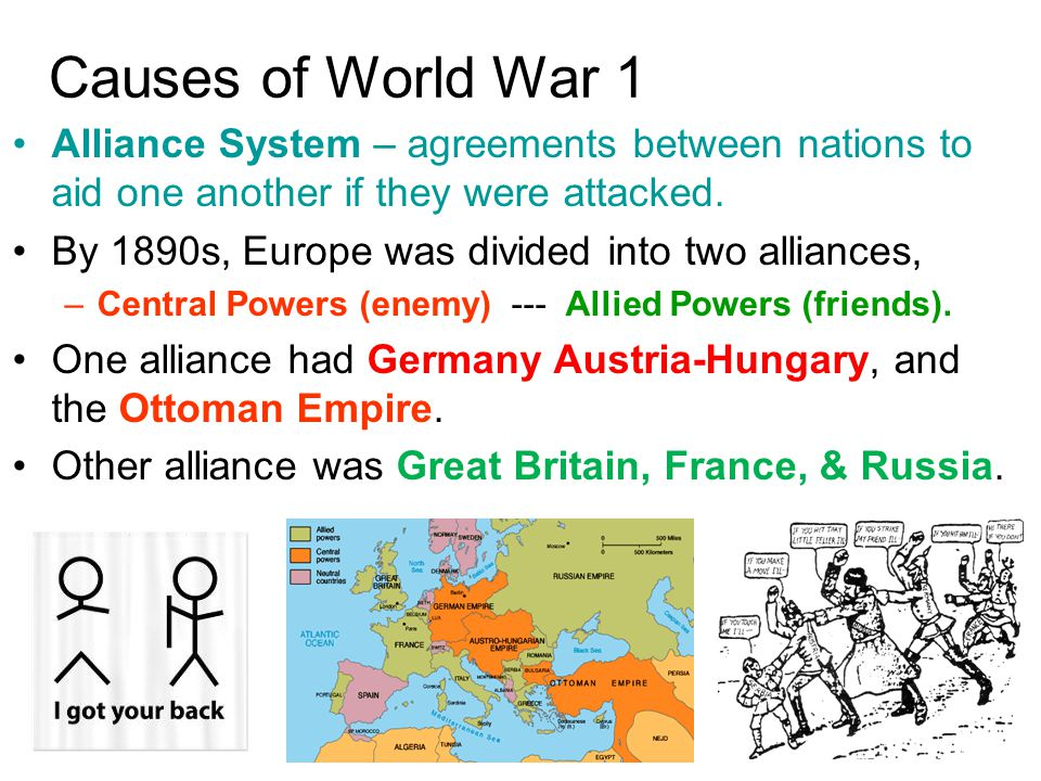 Causes of World War 1 Alliance System – agreements between nations to aid one another if they were attacked.