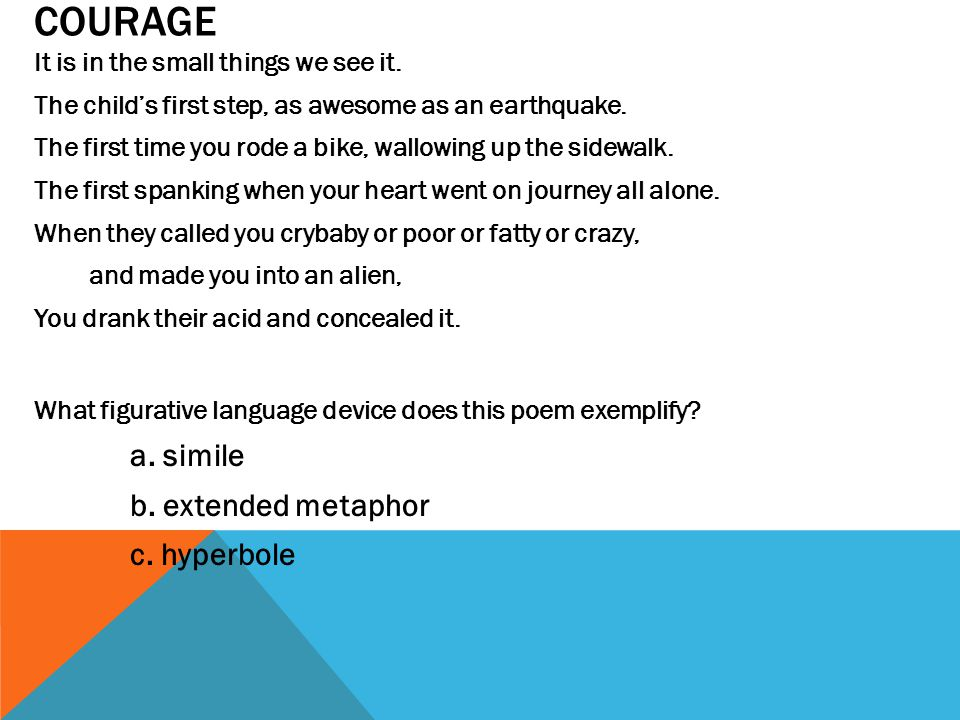 COURAGE b. extended metaphor c. hyperbole