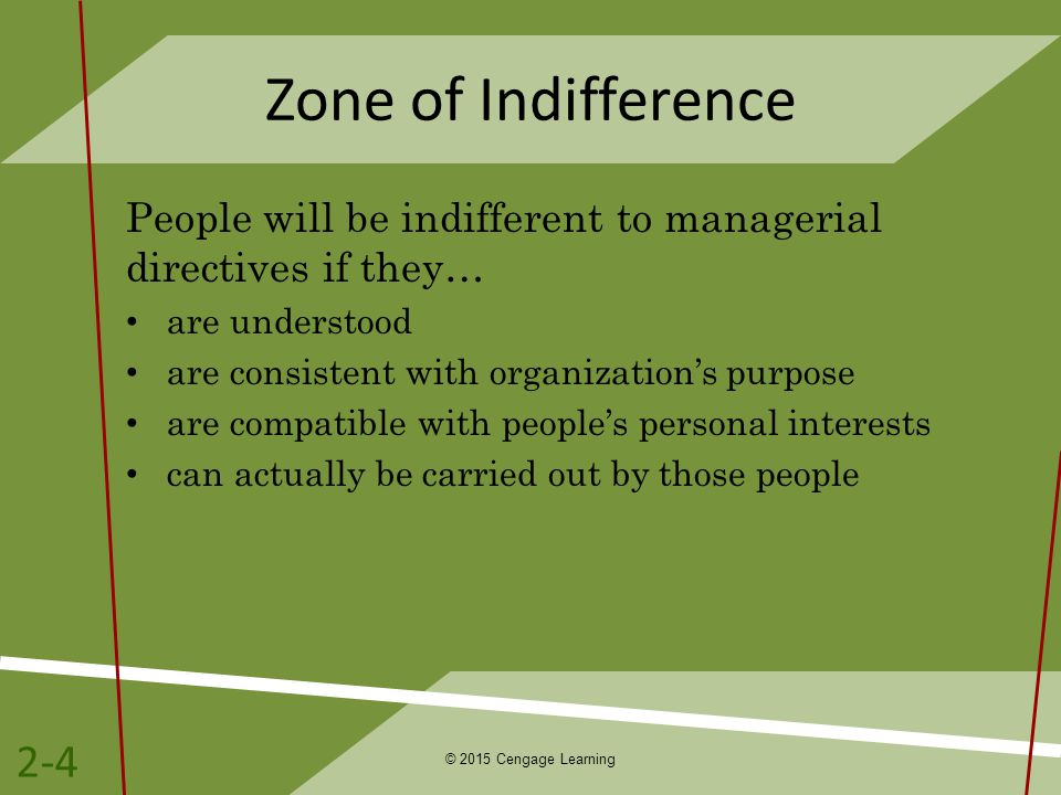 Zone of Indifference People will be indifferent to managerial directives if they… are understood. are consistent with organization's purpose.