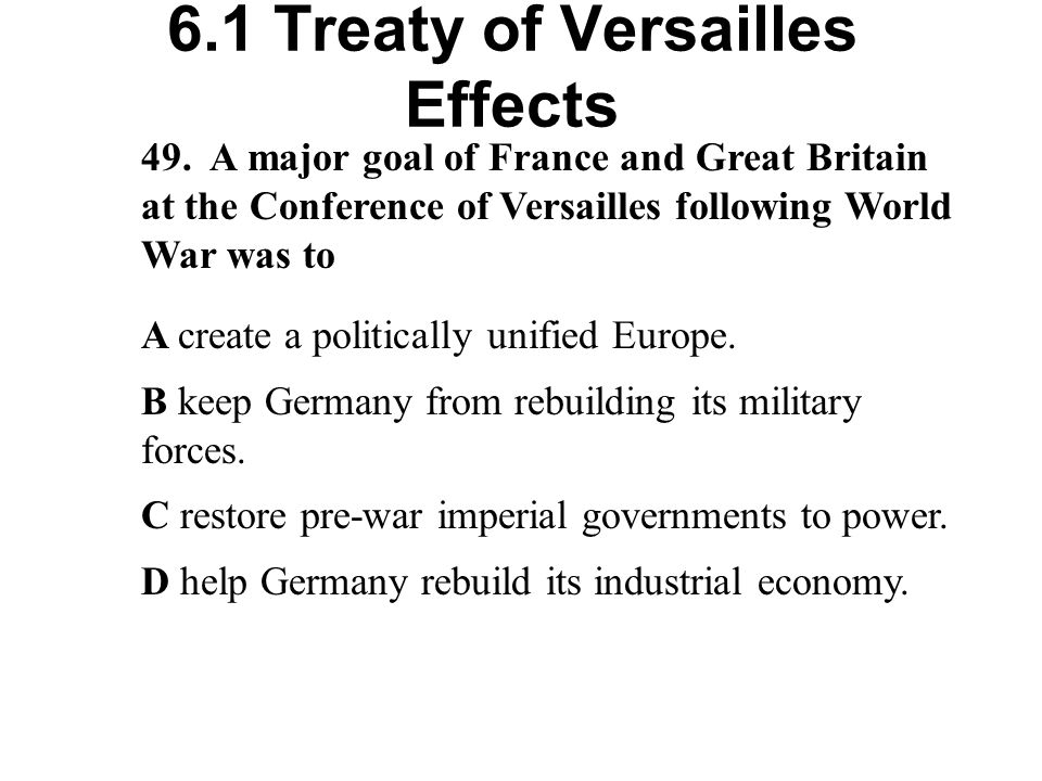 6.1 Treaty of Versailles Effects