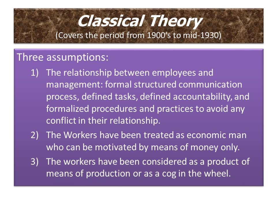 Classical Theory (Covers the period from 1900 s to mid-1930)