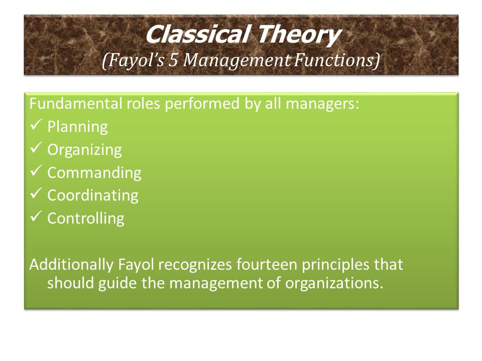 Classical Theory (Fayol's 5 Management Functions)