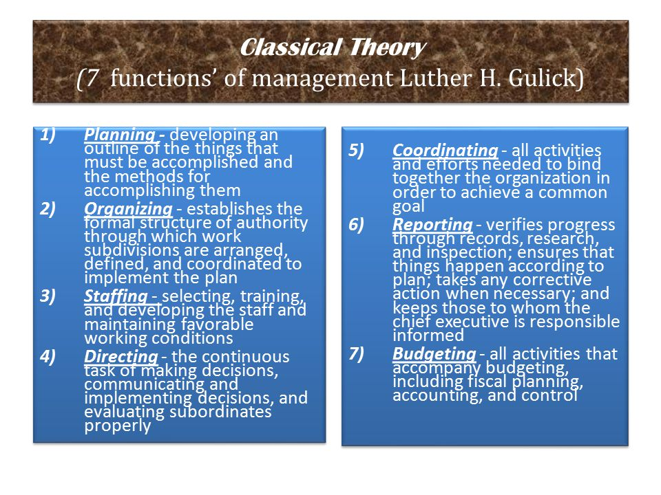 Classical Theory (7 functions' of management Luther H. Gulick)