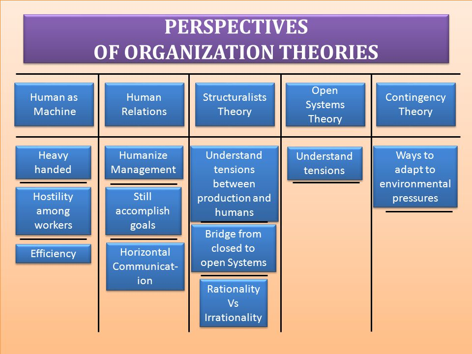 PERSPECTIVES OF ORGANIZATION THEORIES