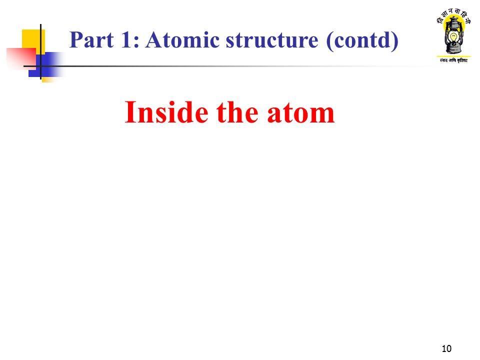 Part 1: Atomic structure (contd)