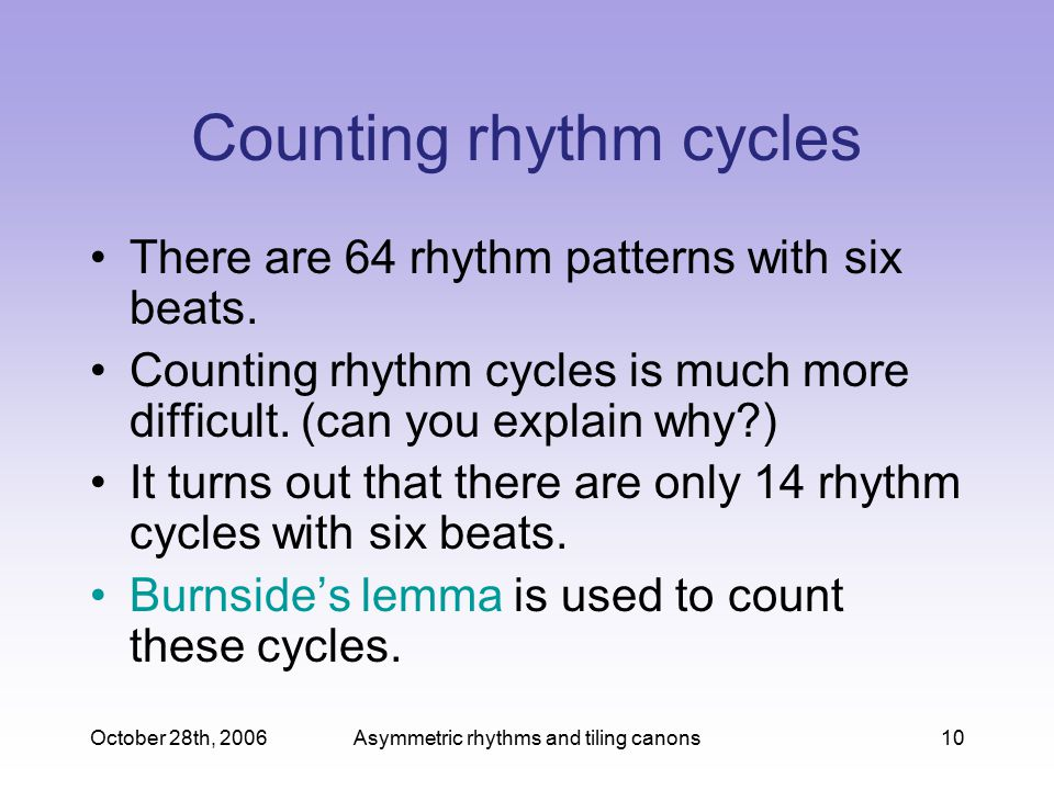 Counting rhythm cycles