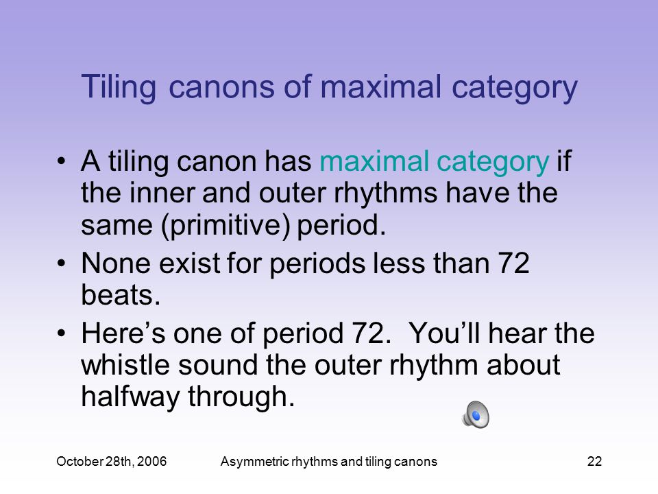 Tiling canons of maximal category