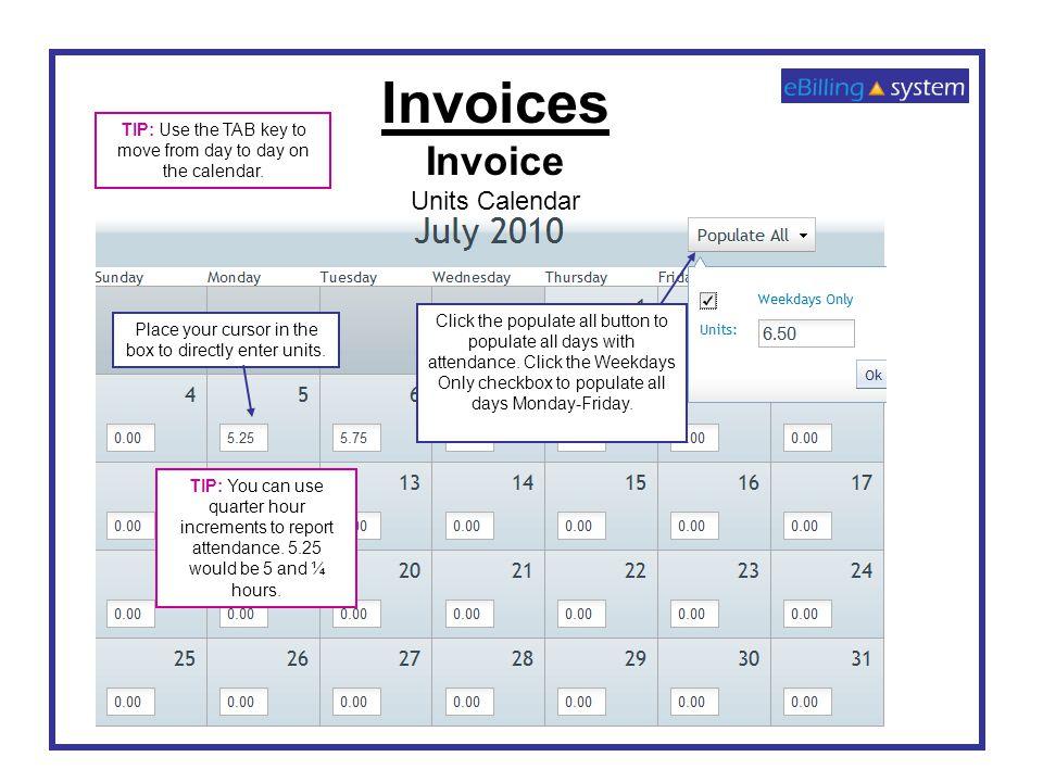Invoices Invoice Units Calendar