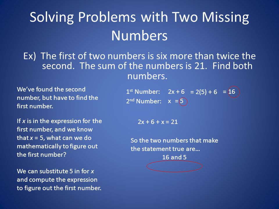 Solving Problems with Two Missing Numbers