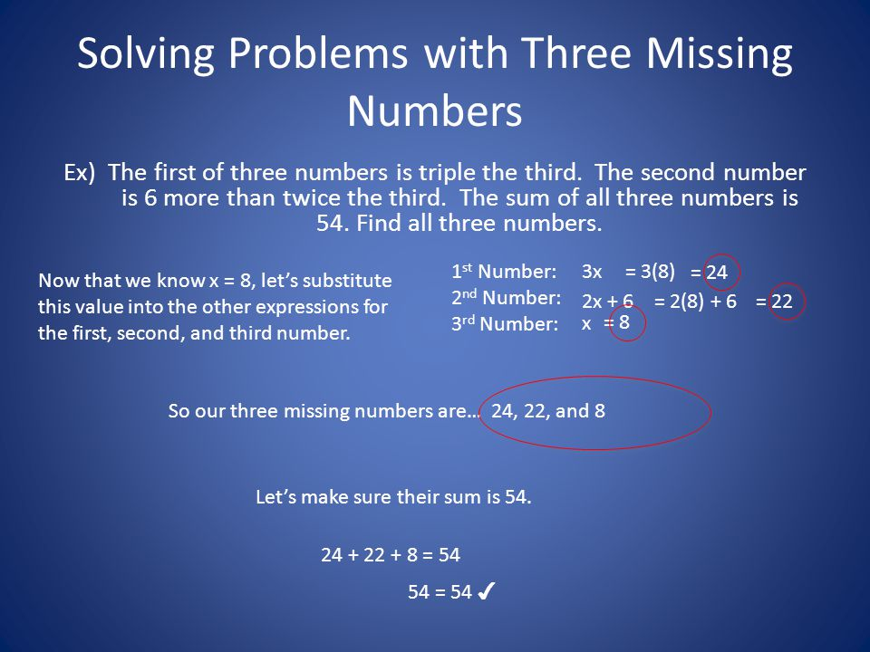 Solving Problems with Three Missing Numbers