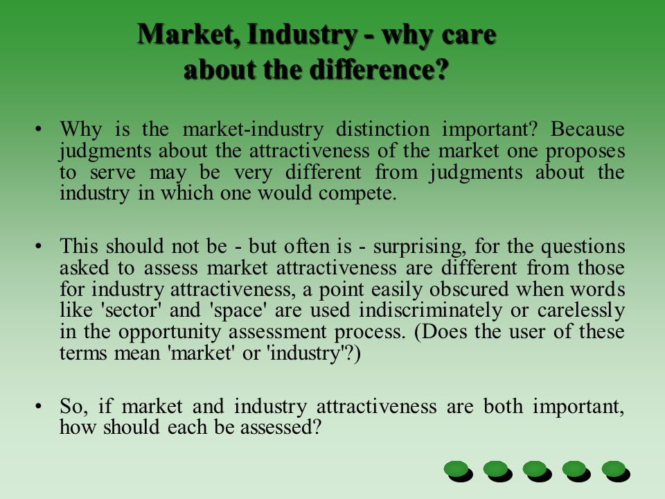Market, Industry - why care about the difference