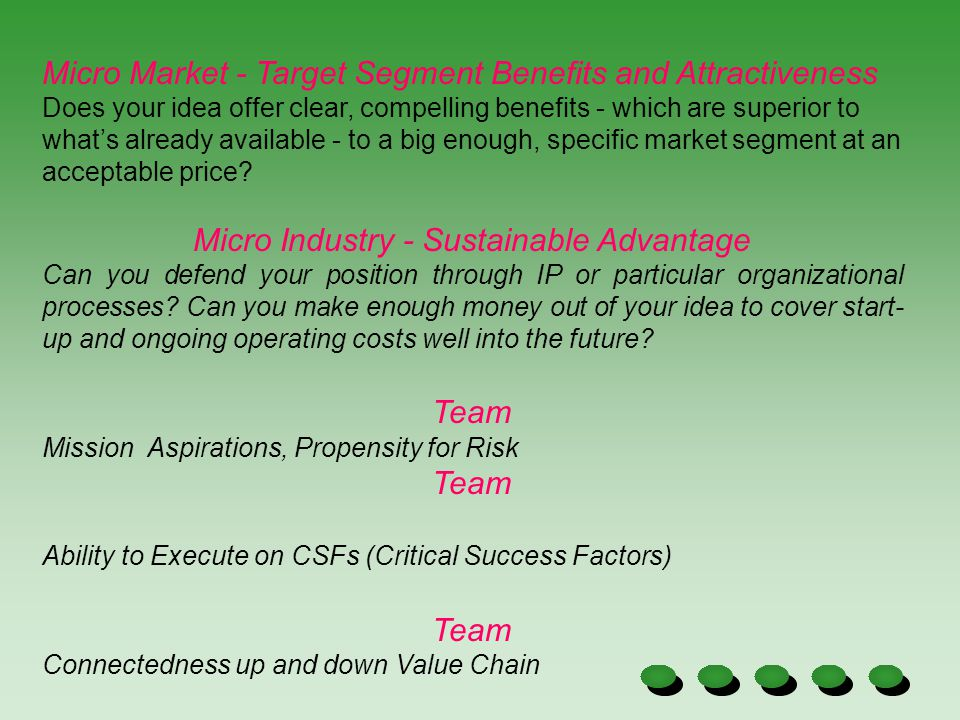 Micro Industry - Sustainable Advantage