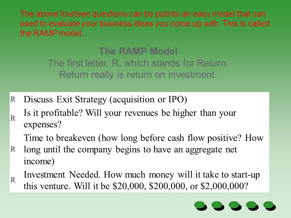 Discuss Exit Strategy (acquisition or IPO)