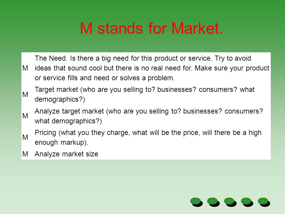 M stands for Market. M.