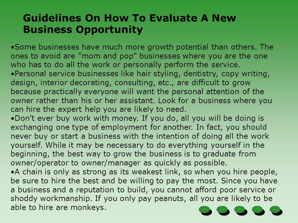 Guidelines On How To Evaluate A New Business Opportunity