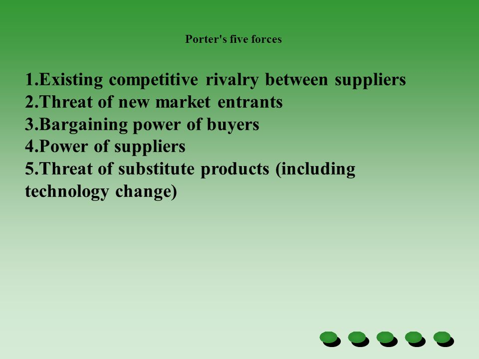 Existing competitive rivalry between suppliers