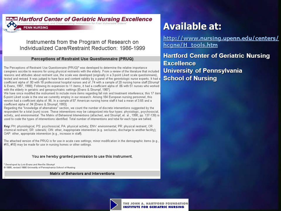 Available at: http://www.nursing.upenn.edu/centers/hcgne/H_tools.htm.