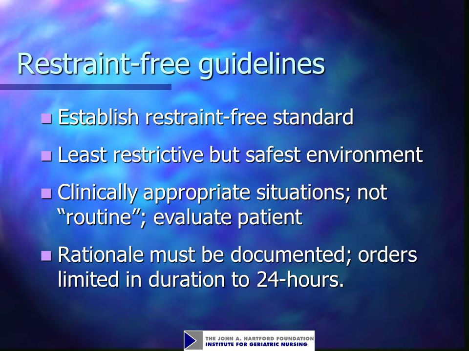 Restraint-free guidelines