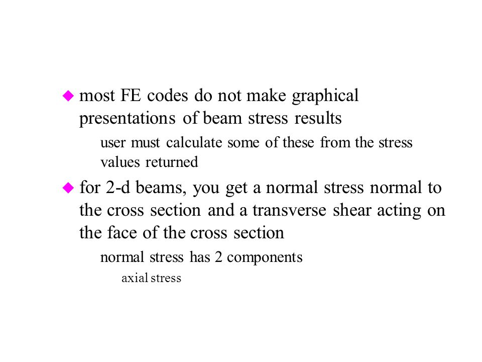 most FE codes do not make graphical presentations of beam stress results