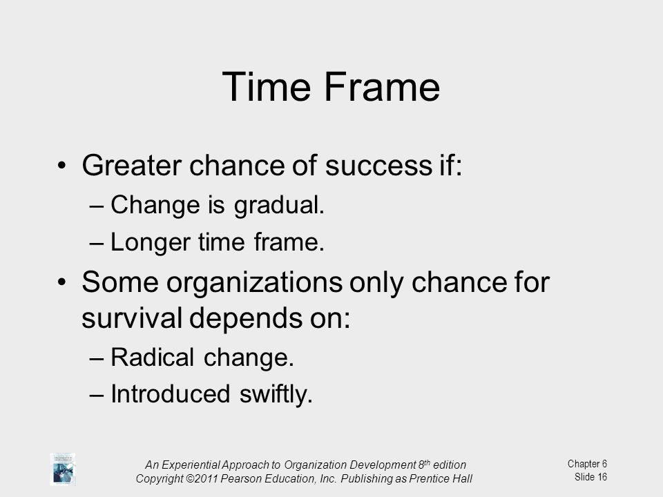 Time Frame Greater chance of success if: