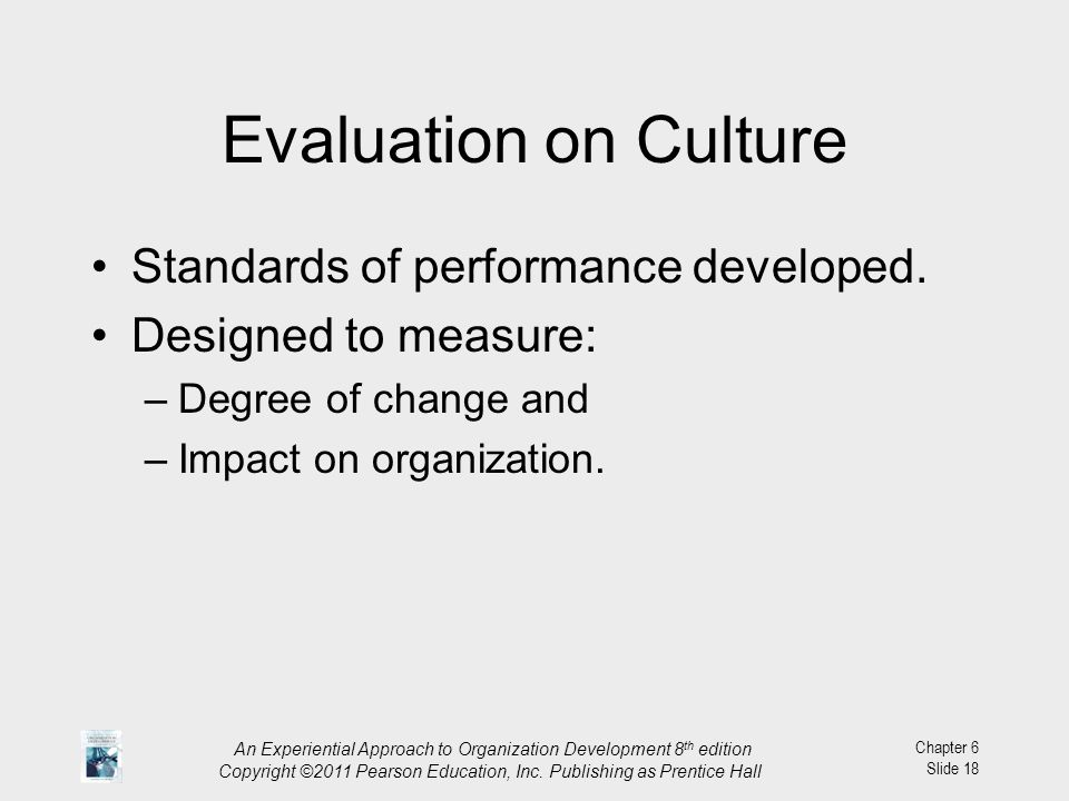 Evaluation on Culture Standards of performance developed.