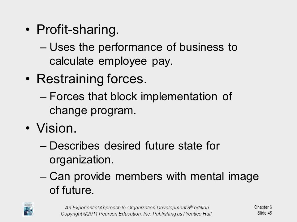 Profit-sharing. Restraining forces. Vision.