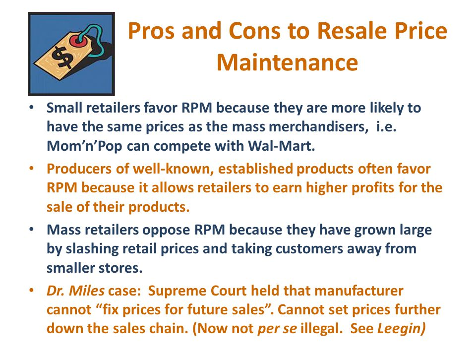 Pros and Cons to Resale Price Maintenance