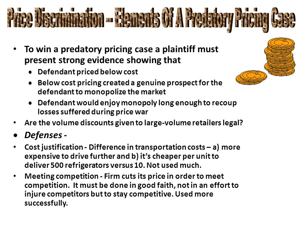 Price Discrimination -- Elements Of A Predatory Pricing Case