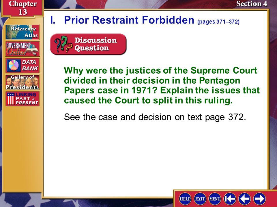 I. Prior Restraint Forbidden (pages 371–372)