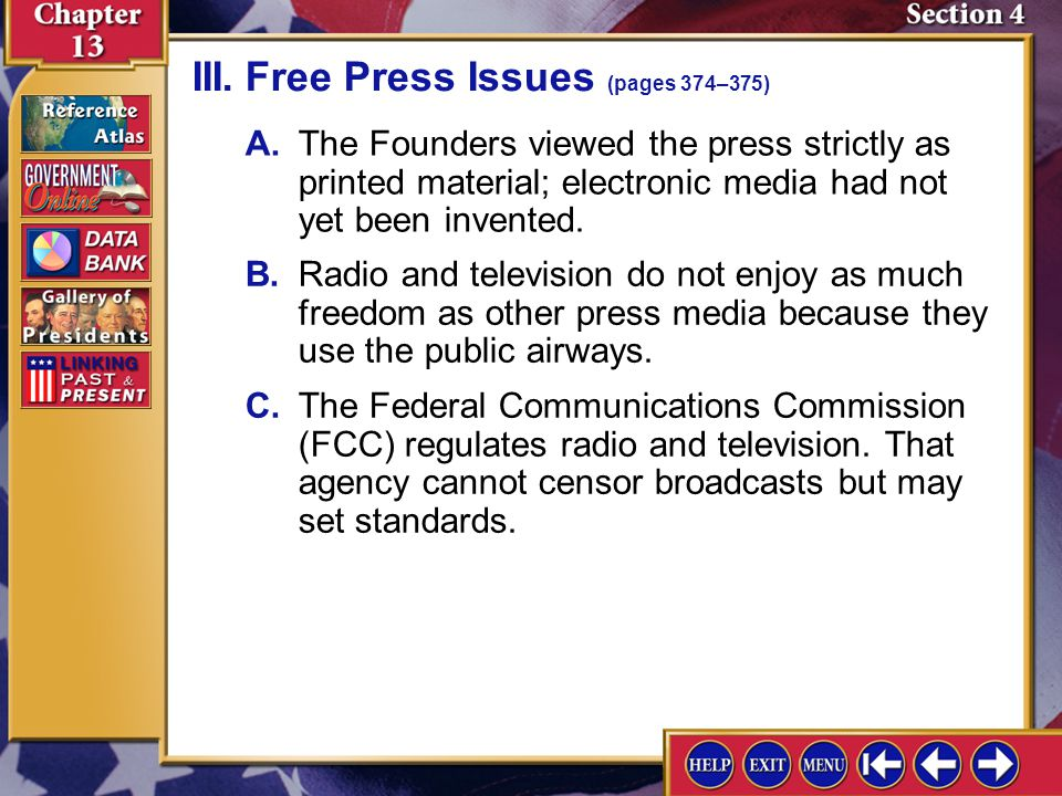 III. Free Press Issues (pages 374–375)