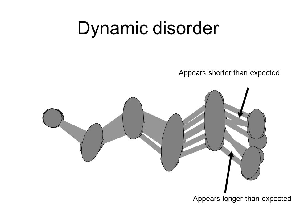 Dynamic disorder Appears shorter than expected