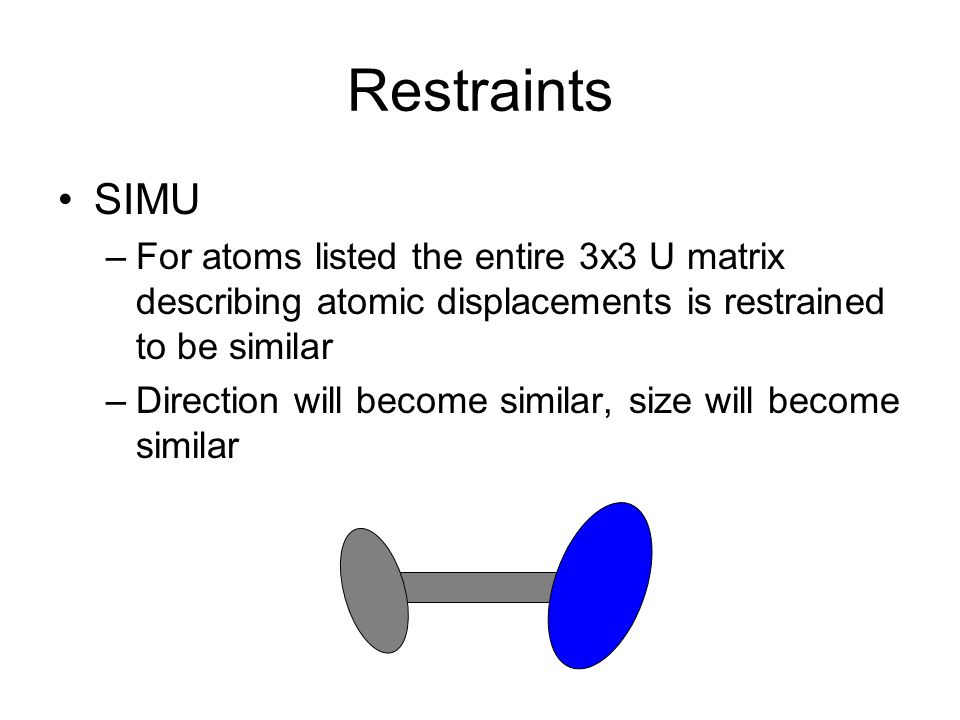 Restraints SIMU. For atoms listed the entire 3x3 U matrix describing atomic displacements is restrained to be similar.
