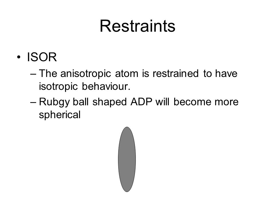 Restraints ISOR. The anisotropic atom is restrained to have isotropic behaviour.