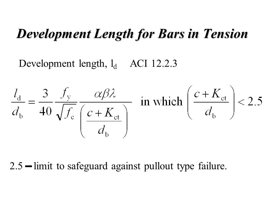 Development Length for Bars in Tension
