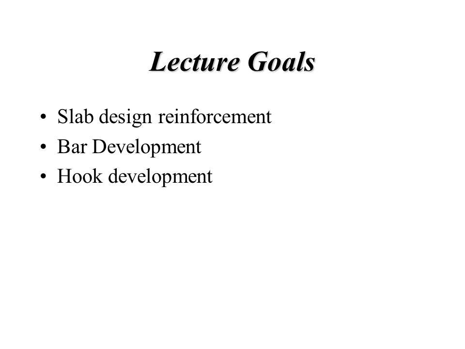 Lecture Goals Slab design reinforcement Bar Development