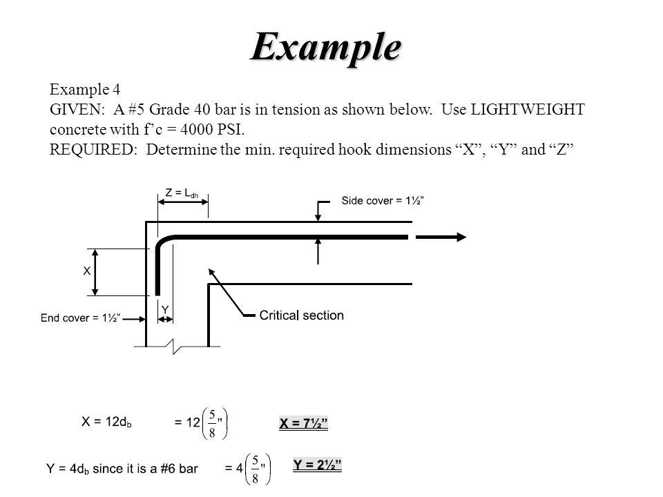 Example Example 4. GIVEN: A #5 Grade 40 bar is in tension as shown below. Use LIGHTWEIGHT. concrete with f'c = 4000 PSI.